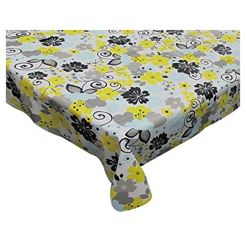 August Grove Crinole Retro Garden Round Vinyl Flannel Backed Tablecloth