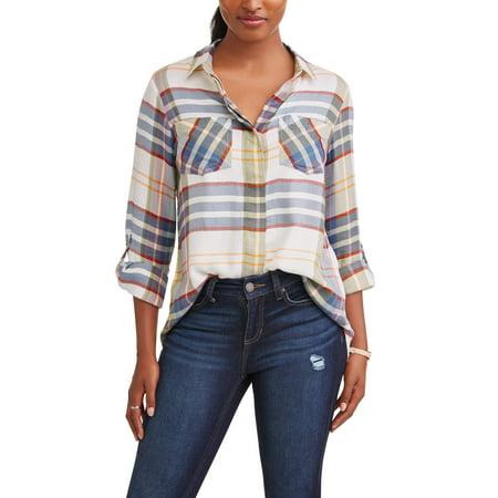 - Women's Split Back Plaid Shirt