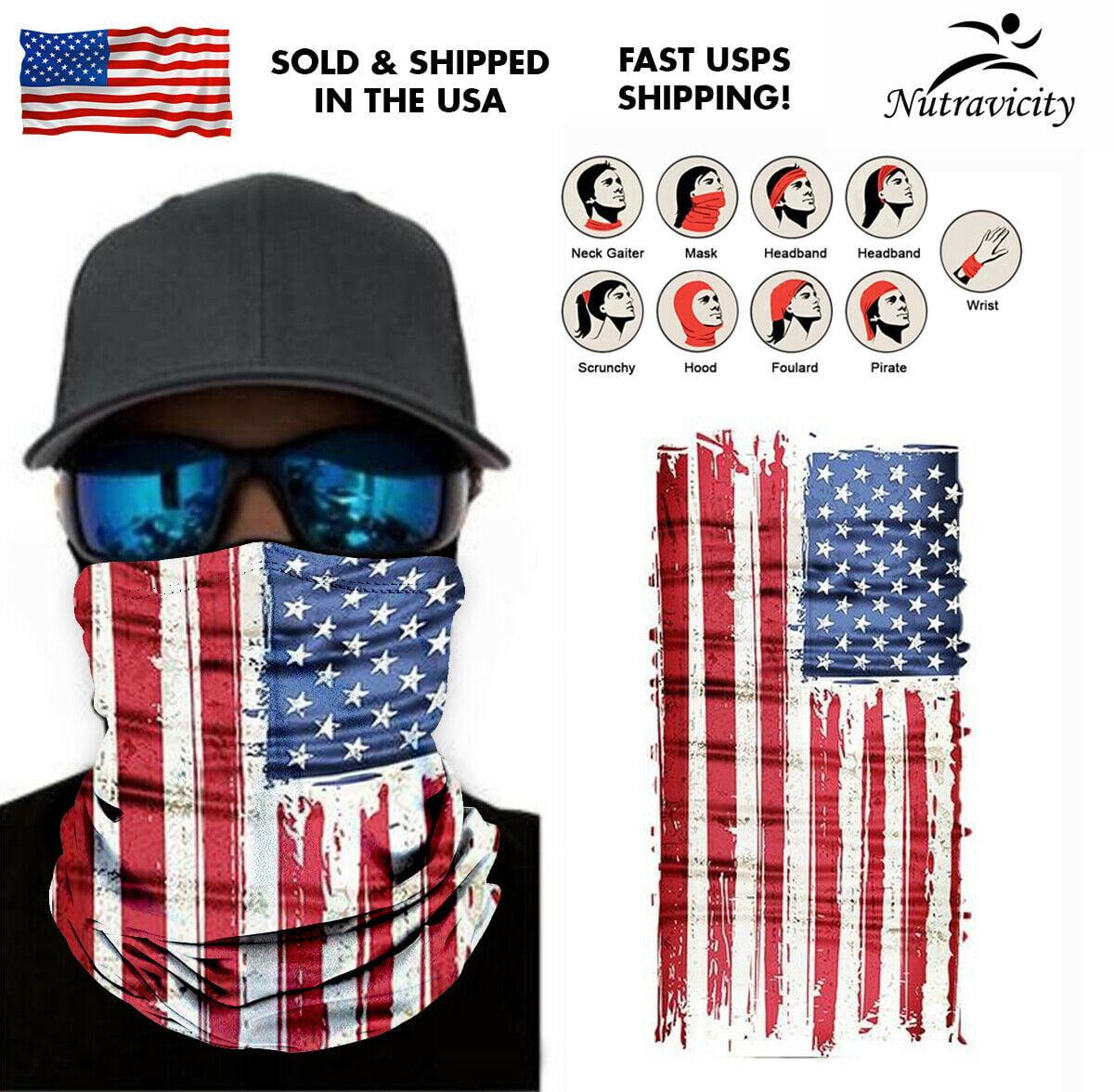 """USA Face Mask /""""American Flag/"""" Balaclava Fishing Sun Gaiter New!"""