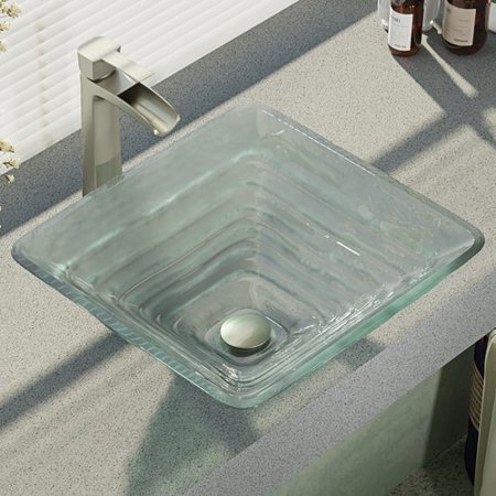 Ren  Textured Glass Square Vessel Bathroom Sink with Faucet