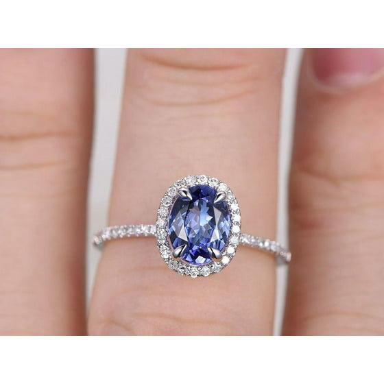 ce99d4b2965c0e JeenMata - 1.5 Carat Oval cut Real Tanzanite and Diamond Engagement ...