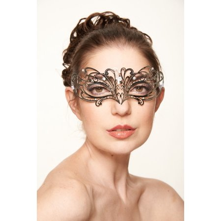 KAYSO INC BC003SL CLASSIC BEAUTY VENETIAN MASQUERADE MASK (SILVER WITH CLEAR RHINESTONES)