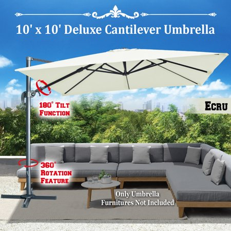 Strong Camel ECRU-10'x10' Deluxe Hanging Cantilever Patio SPA Pool Side Umbrella Heavyduty Outdoor Sunshade Offset Umbrella UV50+ Tilt & 360 Rotation, with Protect Cover 10' Side Post Offset Umbrella