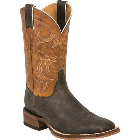 Justin Men's Crazy Volance Cowhide Bent Rail Western Boots, Brown, 13 Justin Ladies Rustic Cowhide
