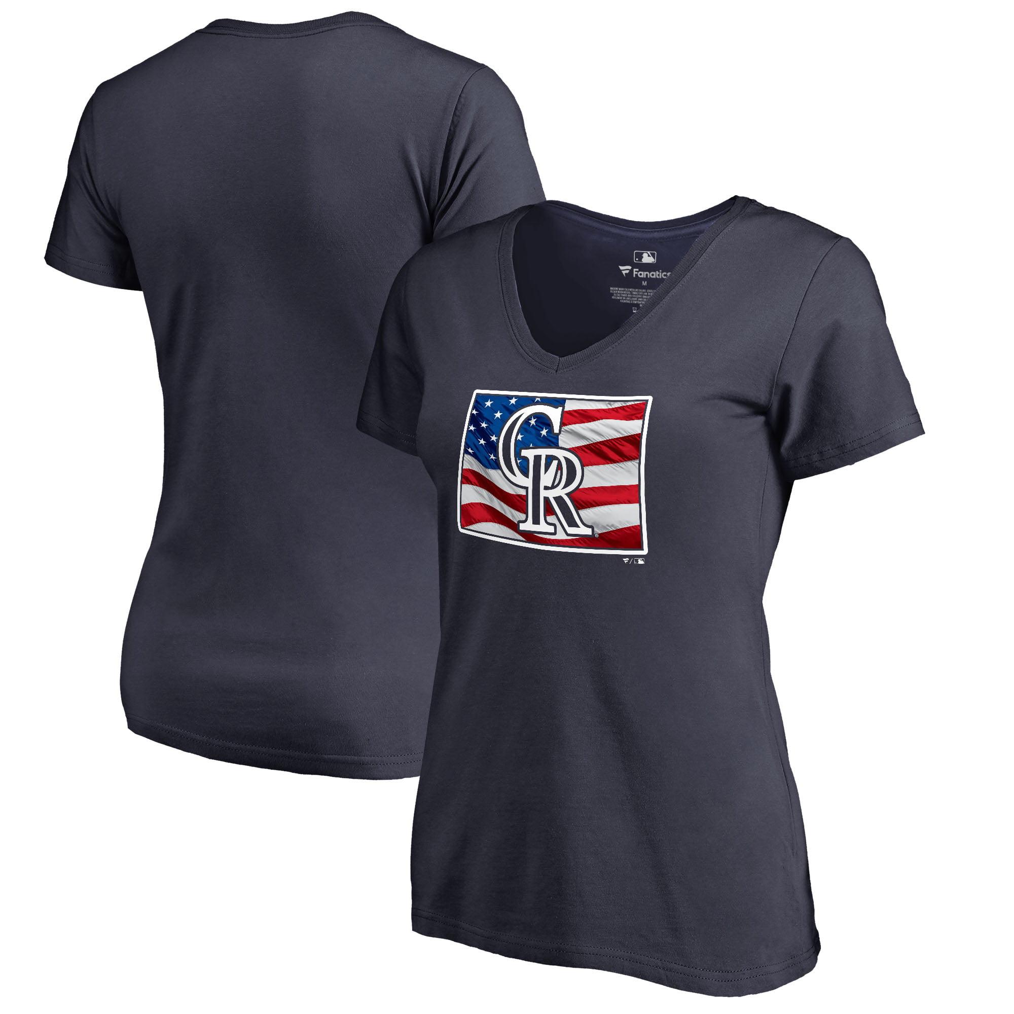 Colorado Rockies Fanatics Branded Women's 2018 Memorial Day Banner State V-Neck T-Shirt - Navy