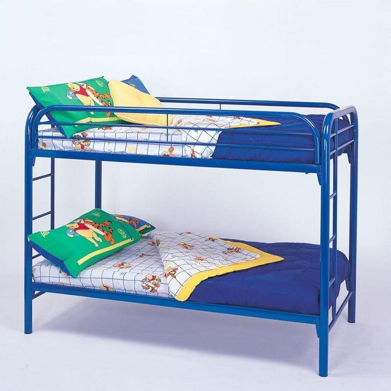 Rosebery Kids Twin over Twin Metal Bunk Bed in Blue