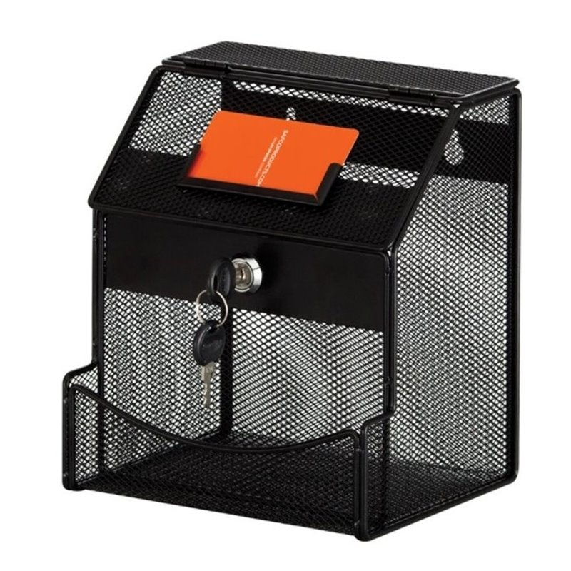 Scranton & Co Wall Mountable Organizer with Locking Lid in Black