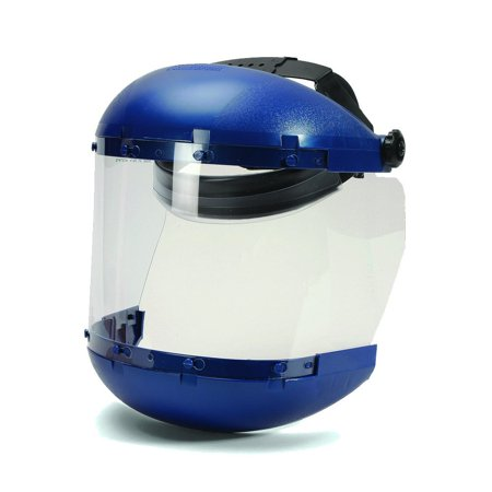 Sellstrom S38140 Blue Plastic Crown/Chin Guard and Clear Anti-Fog Window Protective Face Shield with Ratchet (Shield Chin Guard)