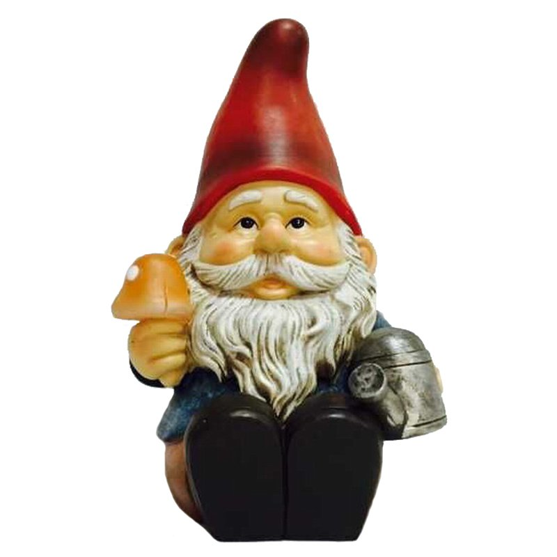 Hi-Line Gnome Sitting with Watering Can and Glowing Mushroom Solar LED by Hi-Line Gift Ltd.