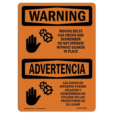 Label Belts (OSHA WARNING Sign - Moving Belts Can Crush Bilingual  | Choose from: Aluminum, Rigid Plastic or Vinyl Label Decal | Protect Your Business, Construction Site, Warehouse & Shop Area |  Made in the USA )