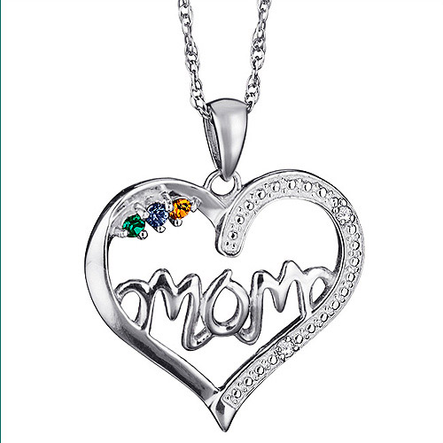 Personalized Sterling Silver Birthstone Heart and Diamond Mom Pendant