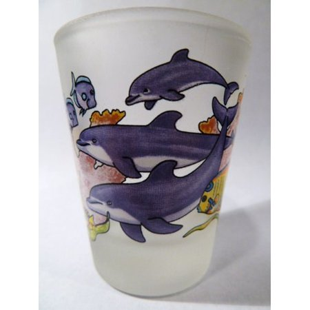 Make Jump Shot - Dolphins Jumping Frosted Caribbean Shot Glass