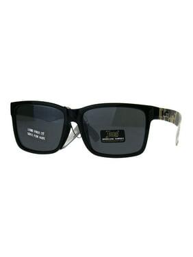 Kids Locs Camouflage Print Arm Rectangular Horn Rim Hard Sunglasses Solid Black
