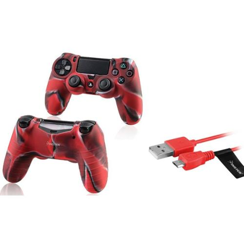 Insten Camouflage Navy Red Silicone Skin Case + USB Cable For Sony PS4 Controller