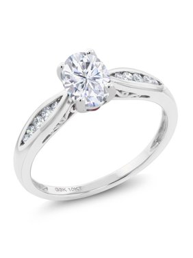 10K White Gold Solitaire w/ Accent Stones Ring Forever Brilliant (GHI) Oval 0.90ct (DEW) Created Moissanite by Charles & Colvard and Diamond