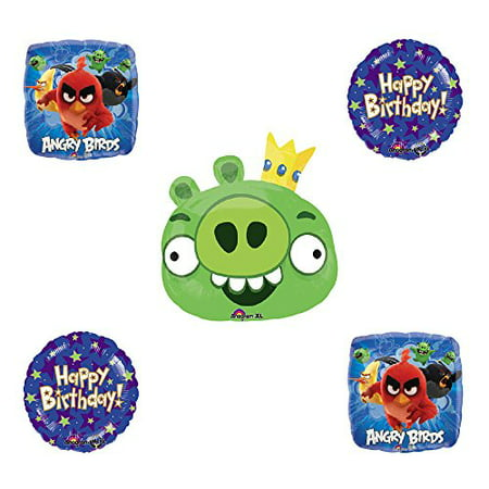 Angry Birds Green King Pig Birthday Balloon Bouquet Decoration supplies - Pig Birthday