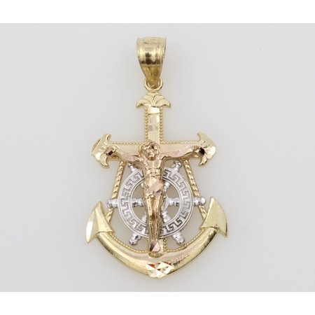 14K Real 3 Color Yellow White Rose Gold Jesus Crucifix Anchor Charm Pendant Christ Crucifix Pendant