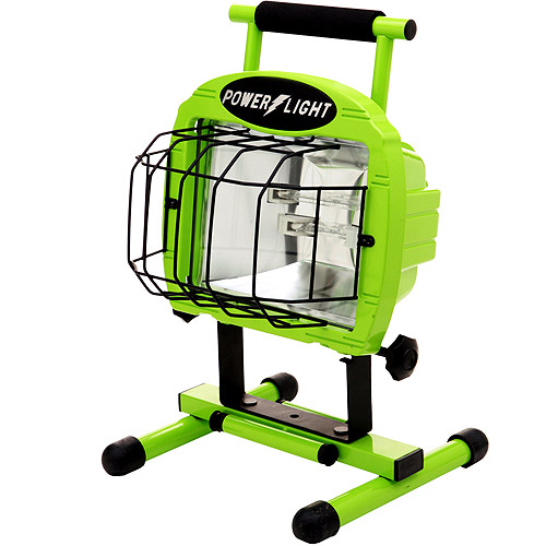 Designers Edge 700W Double Bulb Halogen Work Light with Weatherproof Switches, 5' Cord, Green by Coleman Cable