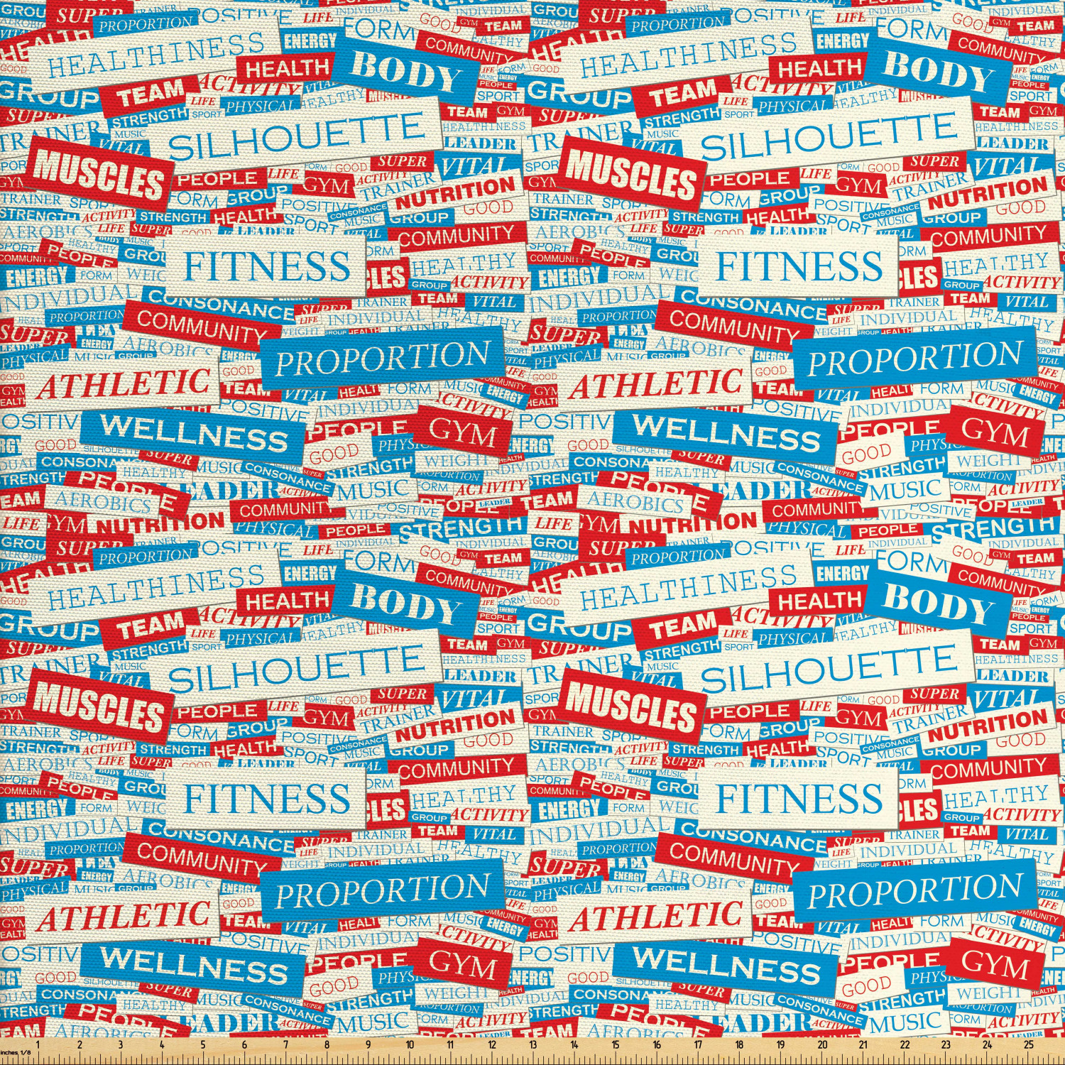 Fitness Fabric By The Yard Collage Of Words Physical Activity Healthiness Nutrition Bodycare Theme Decorative Fabric For Upholstery And Home Accents By Ambesonne Walmart Com Walmart Com