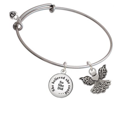 Angel Bracelet (Angel with Heart She Believed She Could Bangle)