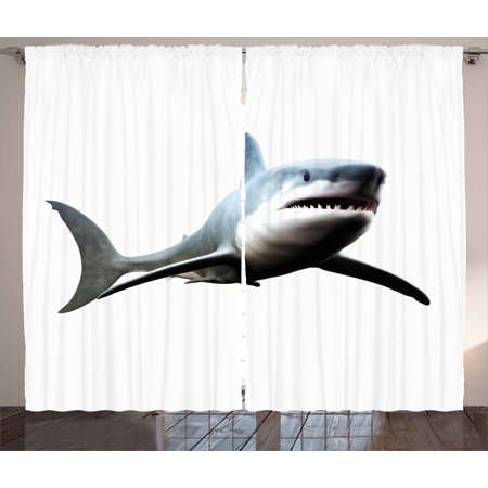 Shark Curtains 2 Panels Set, Digital Illustration of Wild Sea Creature Character Computer Art Artifical Image, Window Drapes for Living Room Bedroom, 108W X 84L Inches, Blue Grey White, by - Character Curtain