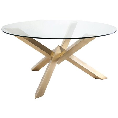 Maklaine Round Glass Top Dining Table In Gold Walmartcom - 72 round glass dining table