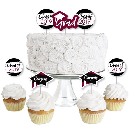 Maroon Grad - Best is Yet to Come - Dessert Cupcake Toppers - Burgundy 2019 Graduation Party Clear Treat Picks - 24 (Best Pillow Topper 2019)