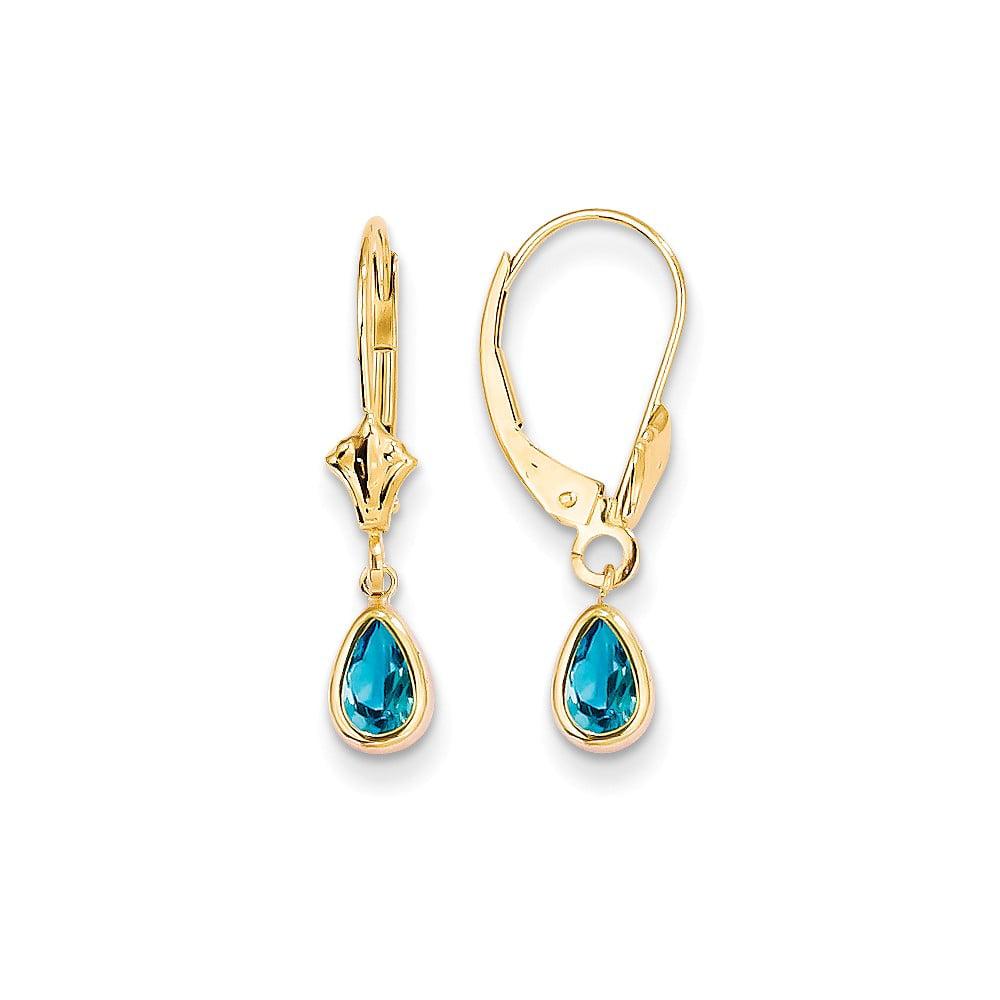 14k Yellow Gold 0.8IN Long 6x4 Pear Bezel Set Blue topaz Post Stud Earrings