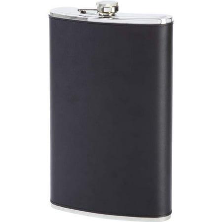 Maxam® 64oz Jumbo Stainless Steel Flask with Genuine Leather Wrap