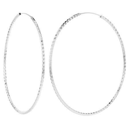 925 Sterling Silver Extra Large Endless Jumbo Hoop Earrings 65mm