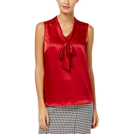 KASPER Womens Red Charmeuse Sleeveless Tie Neck Top  Size: (Charmeuse Spa)