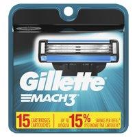 15 Count Gillette Mach3 Mens Razor Blade Refills