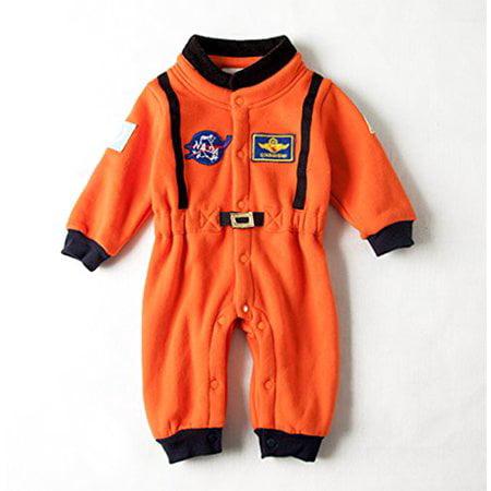 Kids Costume Storage (Bilo Baby Toddler Boy Orange Astronaut Fleece Costume Jumpsuit (18-24)