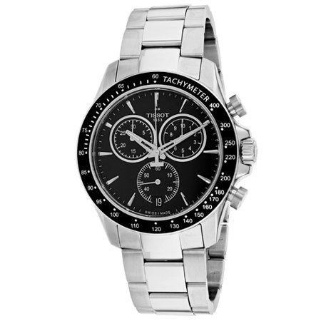 Tissot Men's 42mm Steel Bracelet & Case S. Sapphire Quartz Black Dial Chronograph Watch