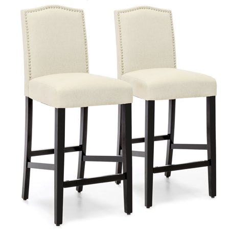 Best Choice Products Set of 2 30in Contemporary Faux Leather Counter Height Armless Backed Accent Breakfast Bar Stool Chairs for Dining Room, Kitchen, Bar w/ Studded Nail Head Trim - Ivory Back Bar Stools Chairs