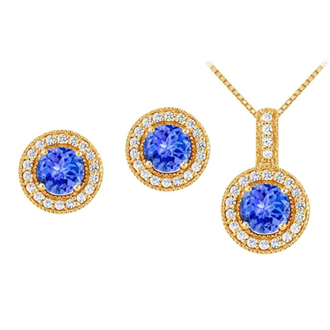 Fine Jewelry Vault UBUNERPD32336AGVYCZTZ600 December Birthstone Tanzanite with CZ Halo Earrings and Pendant in 18K