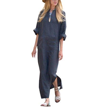 Womens Loose Split Hem V Neck Long Sleeve Cotton Linen Maxi Long - Long White Greek Goddess Dress