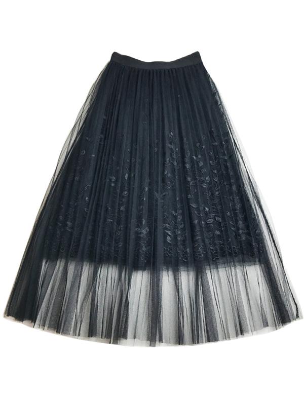 Funcee Fashion Women High Waist Embroidery Mesh Skirts