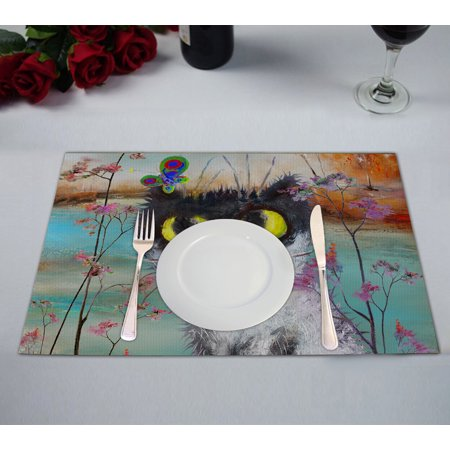 YKCG Funny Cat Floral Flower Butterfly Cute Kitten Autumn Tree Lake Placemats Size 12x18 inches,Set of 2 ()