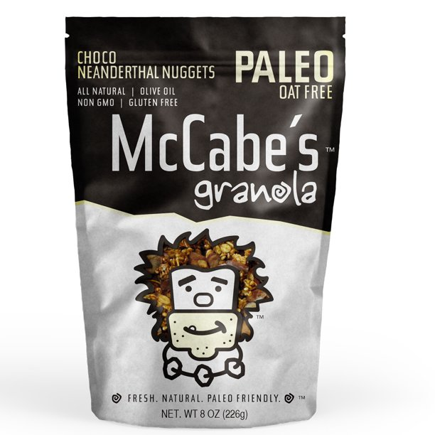 McCabe's Granola, Chocolate Neanderthal, Baked with Olive Oil, Gluten Free, Paleo, 8 Oz