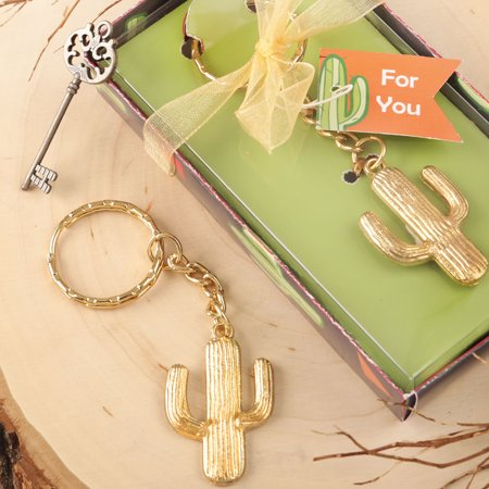 24 GOLD METAL CACTUS DESIGN KEY CHAIN - Golf Key Chains