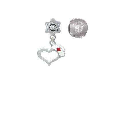 Silvertone Open Heart with Nurse Hat Happy Hanukkah Charm Beads (Set of 2) (Hanukkah Hat)