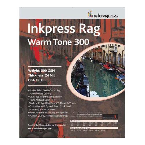 "Inkpress Rag Warm Tone 300 Double Sided, Cream White Matte Inkjet Paper, 24 mil, 300 gsm, 13x19"", 25 Sheets"