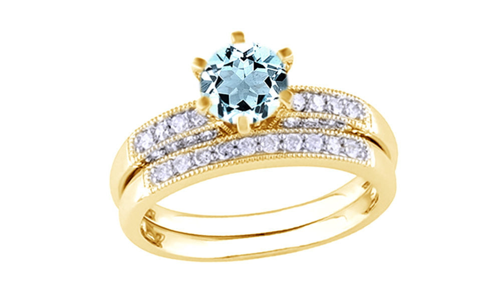 Simulated Aquamarine Cubic Zirconia & White Natural Diamond Wedding Ring Set In 10k Yellow Gold By Jewel Zone US (0.33... by Jewel Zone US