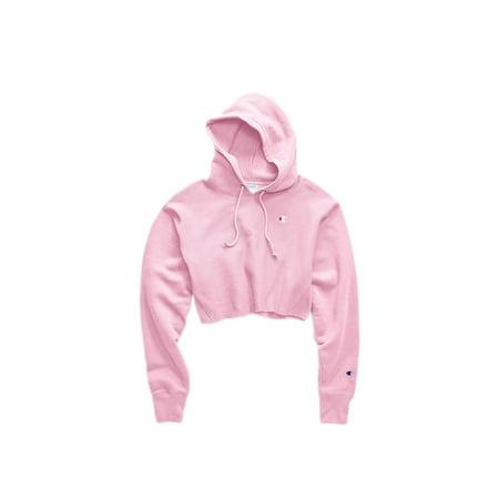 Champion C-Life Reverse Weave Cropped Cut Off Pink Hoodie (Champion Classic Reverse Weave Crewneck Sweatshirt Pink)