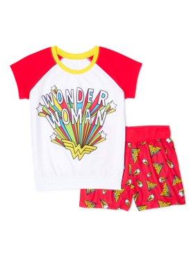 Wonder Woman Girls Exclusive Short Sleeve Pajama Top & Shorts Set, Sizes 4-12