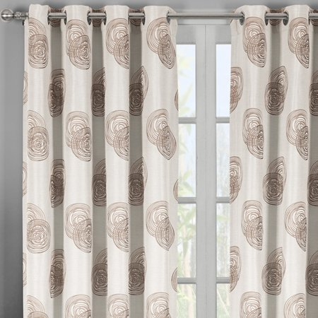 Lafayetee Brown Top Grommet Jacquard Window Curtain Panel Set Of 2 Panels 108x120