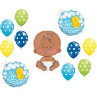 """IT'S A BOY RUBBER DUCKY COLORFUL POLKA DOTS 24"""" CELEBRATE BABY SHOWER Balloon..."""