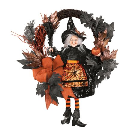 Halloween Wreath Decorations (Orange & Black Glittery Witch Halloween)