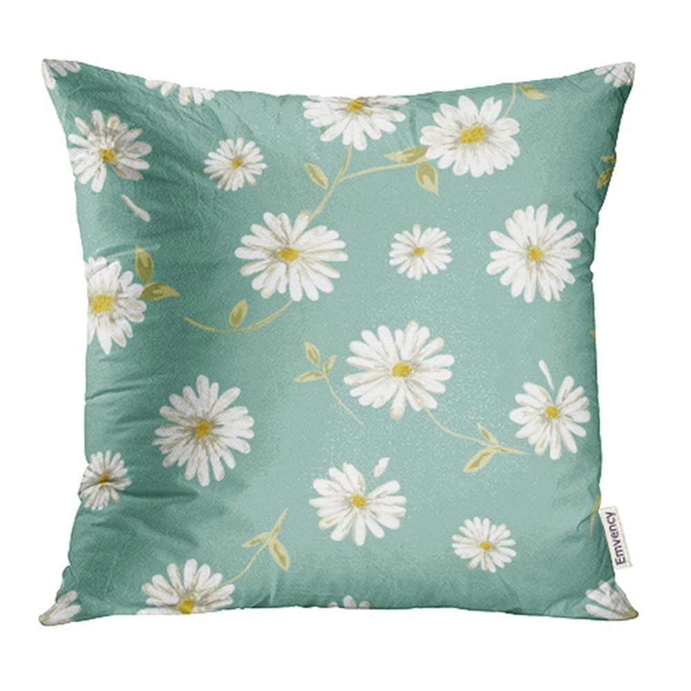 USART White Flower Pretty Daisy Floral Spring Cute Summer Romantic Beauty Delicate Pillowcase Cushion Cases 18x18 inch